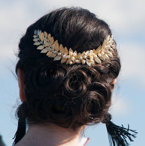 Custom Gold Leaf + Pearl Wreath Headpiece, Accessories, MsCloset,- REHEART Canadian Online Wardrobe-Sharing Platform