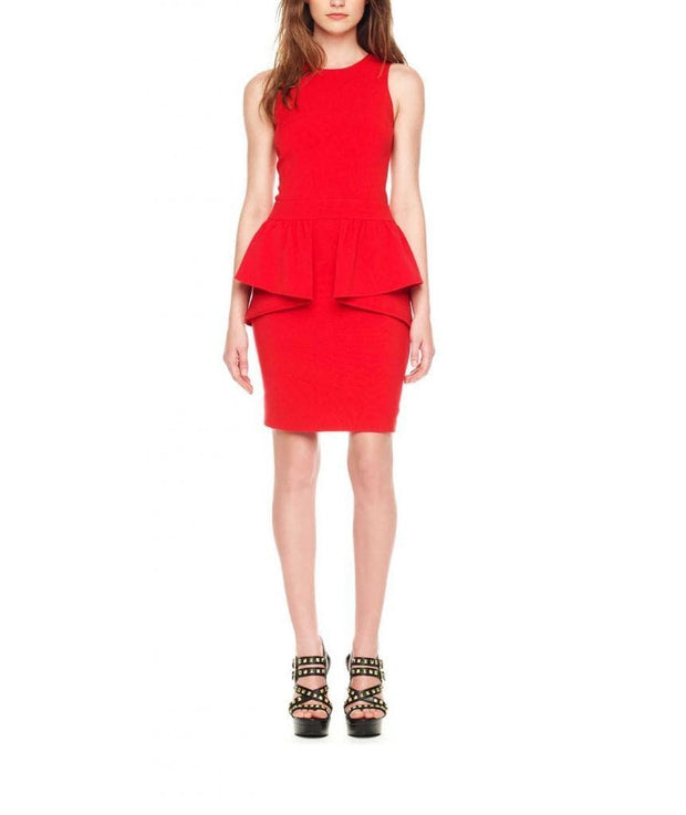Red Peplum, Dress, kdifeo,- REHEART Canadian Online Wardrobe-Sharing Platform