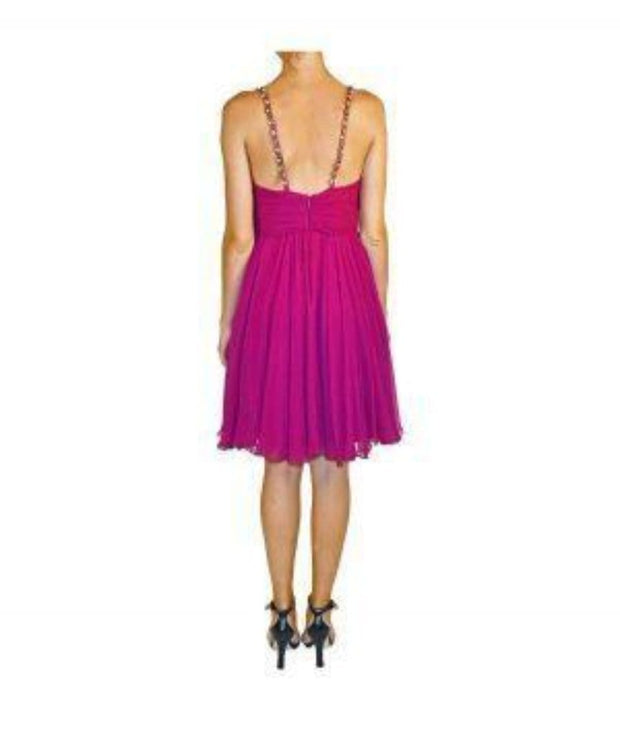 Fuchsia Cocktail with Beaded Straps, Dress, ileanabattiston,- REHEART Canadian Online Wardrobe-Sharing Platform