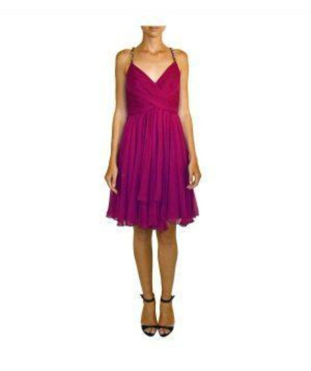 Fuchsia Cocktail with Beaded Straps - REHEART 💜 Canadian Online Wardrobe-Sharing Platform