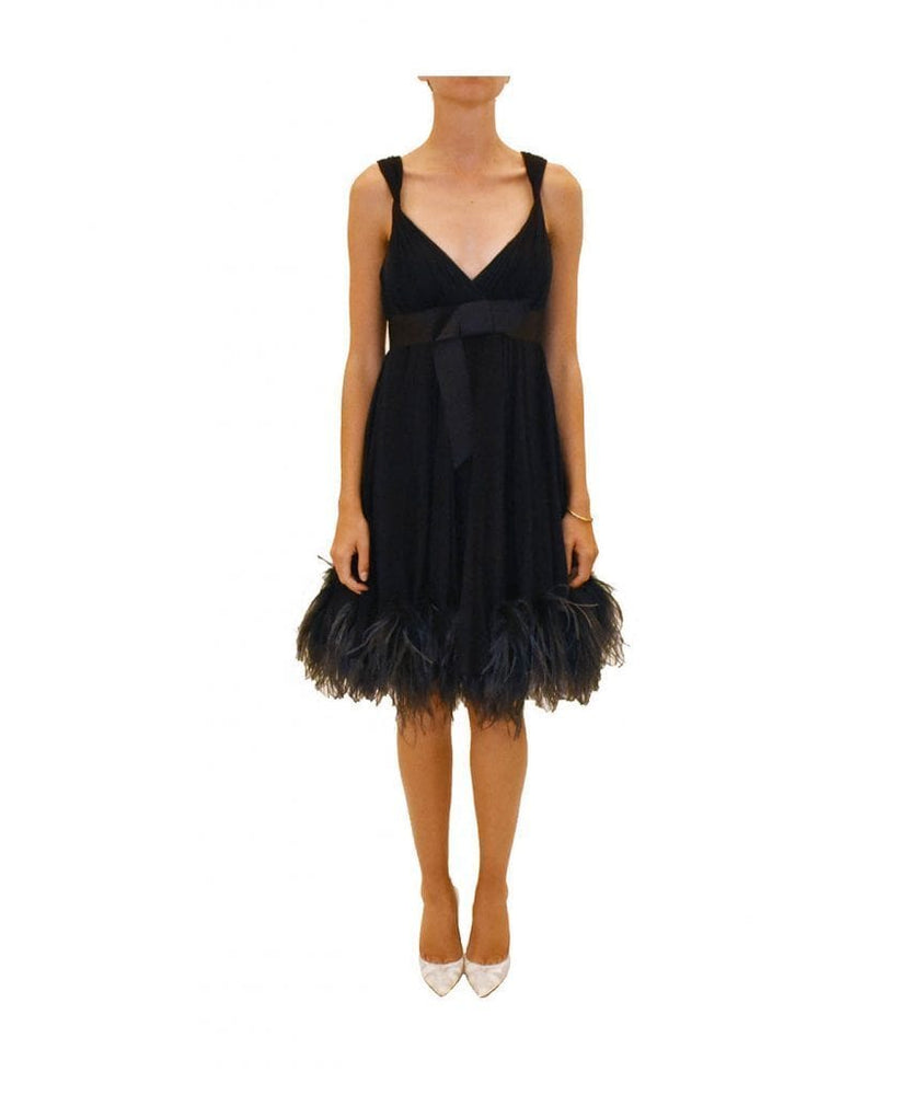 Feather Trim Cocktail Dress
