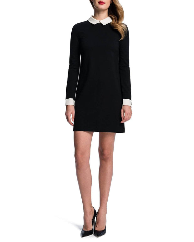 Collared Ponte Knit Shift Dress
