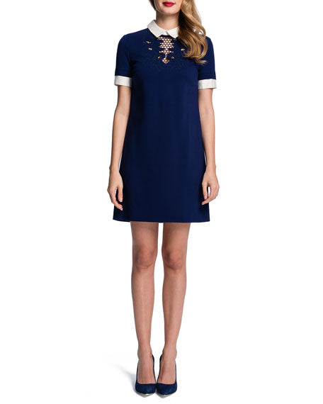 Short-Sleeve Embroidered-Yoke Shift Dress, Dress, katcm1,- REHEART Canadian Online Wardrobe-Sharing Platform