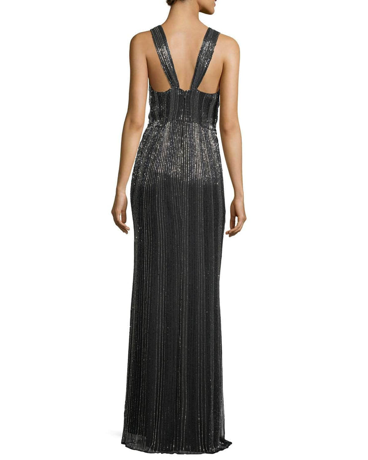 Monarch Beaded V-Neck Sleeveless Evening Gown, Dress, Nicky,- REHEART Canadian Online Wardrobe-Sharing Platform