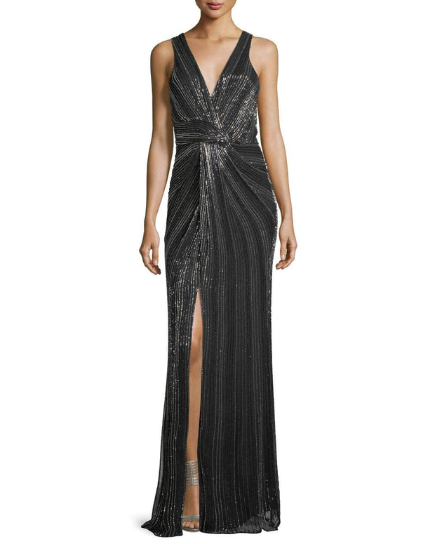 Monarch Beaded V-Neck Sleeveless Evening Gown
