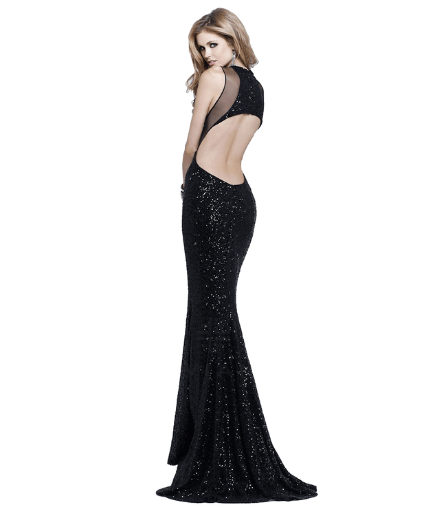 Sequin & Shimmer Cutout Gown