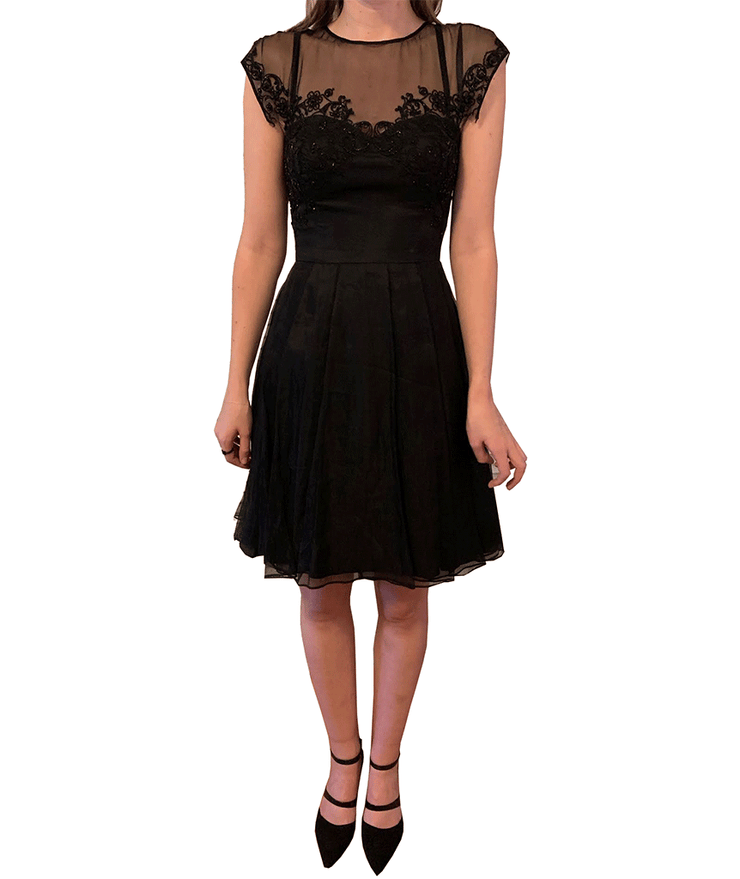 Formal Silk Dress with Lace Embroidery, Dress, katcm1,- REHEART Canadian Online Wardrobe-Sharing Platform