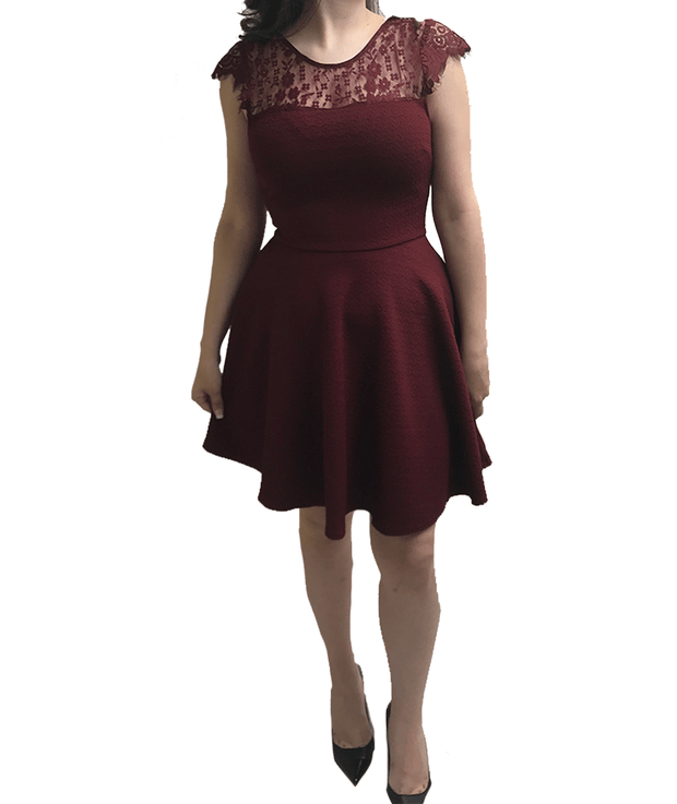 Burgundy Lace, Dress, juliannaspena,- REHEART Canadian Online Wardrobe-Sharing Platform