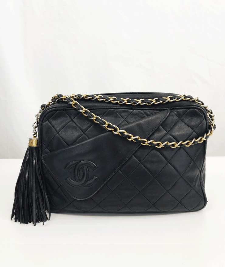 1986 Vintage Chanel 24k Gold Fringe Camera Bag