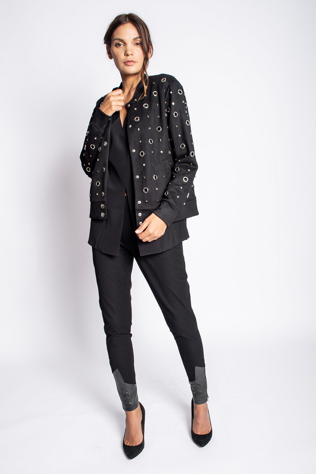 Embellished Suede Jacket