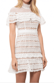 Ruffled Guipure Lace Mini Dress, Dress, naturallycaroline,- REHEART Canadian Online Wardrobe-Sharing Platform