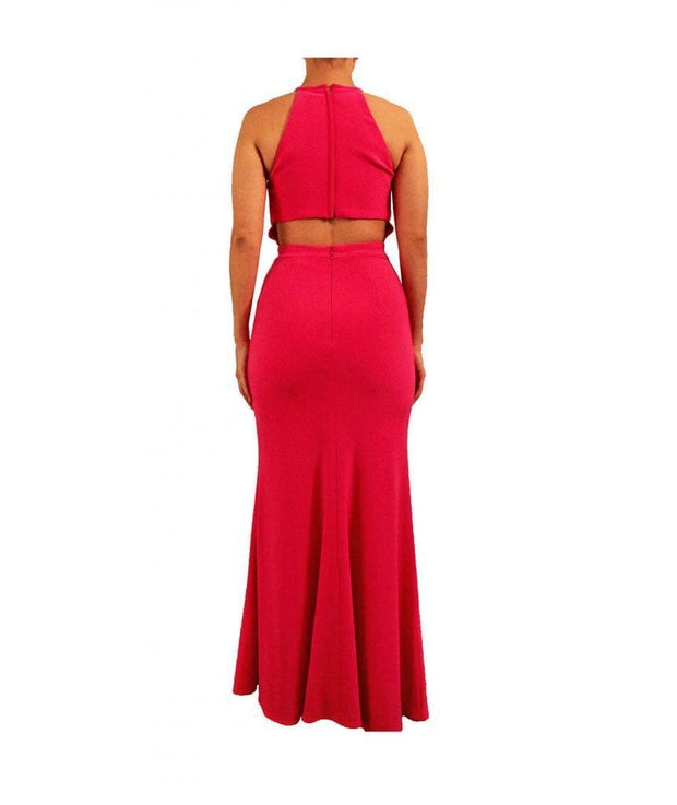 Hot Pink Halter Dress With High Slit, Dress, sabrinabeans,- REHEART Canadian Online Wardrobe-Sharing Platform