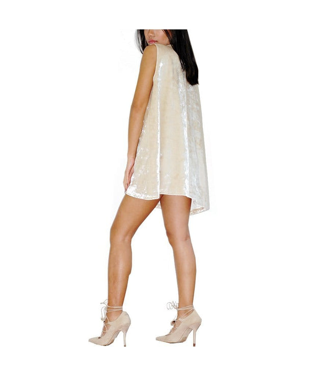 Short Tan Felt Dress, Dress, lacedsilk,- REHEART Canadian Online Wardrobe-Sharing Platform
