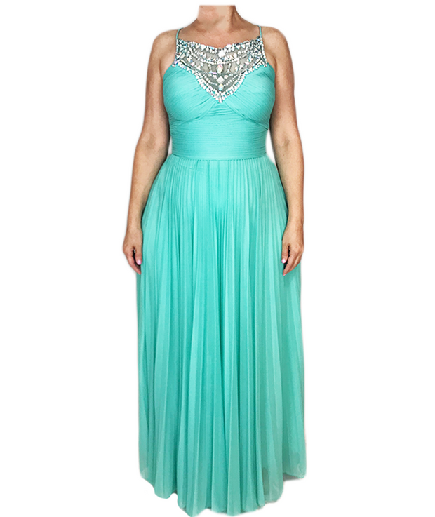 Turqoise Sequin Halter Pleated Gown
