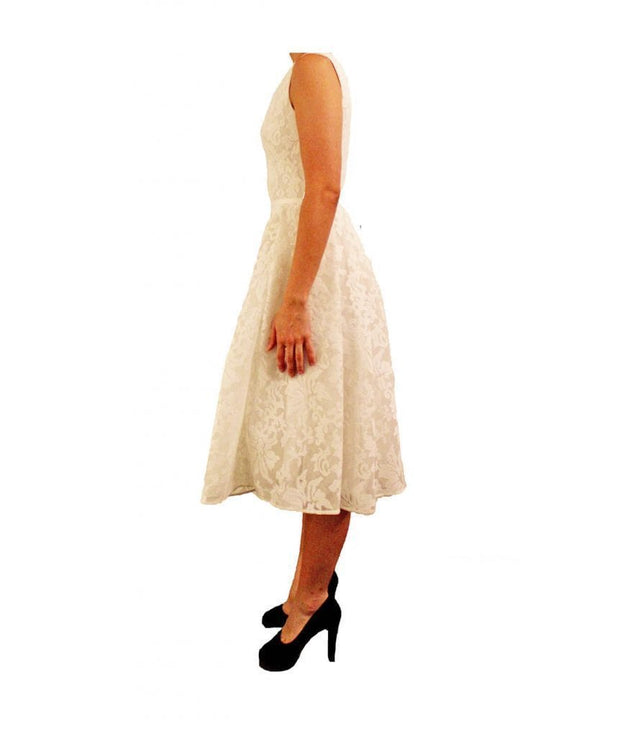 White Lace Tea Length Dress, Dress, sabrinabeans,- REHEART Canadian Online Wardrobe-Sharing Platform