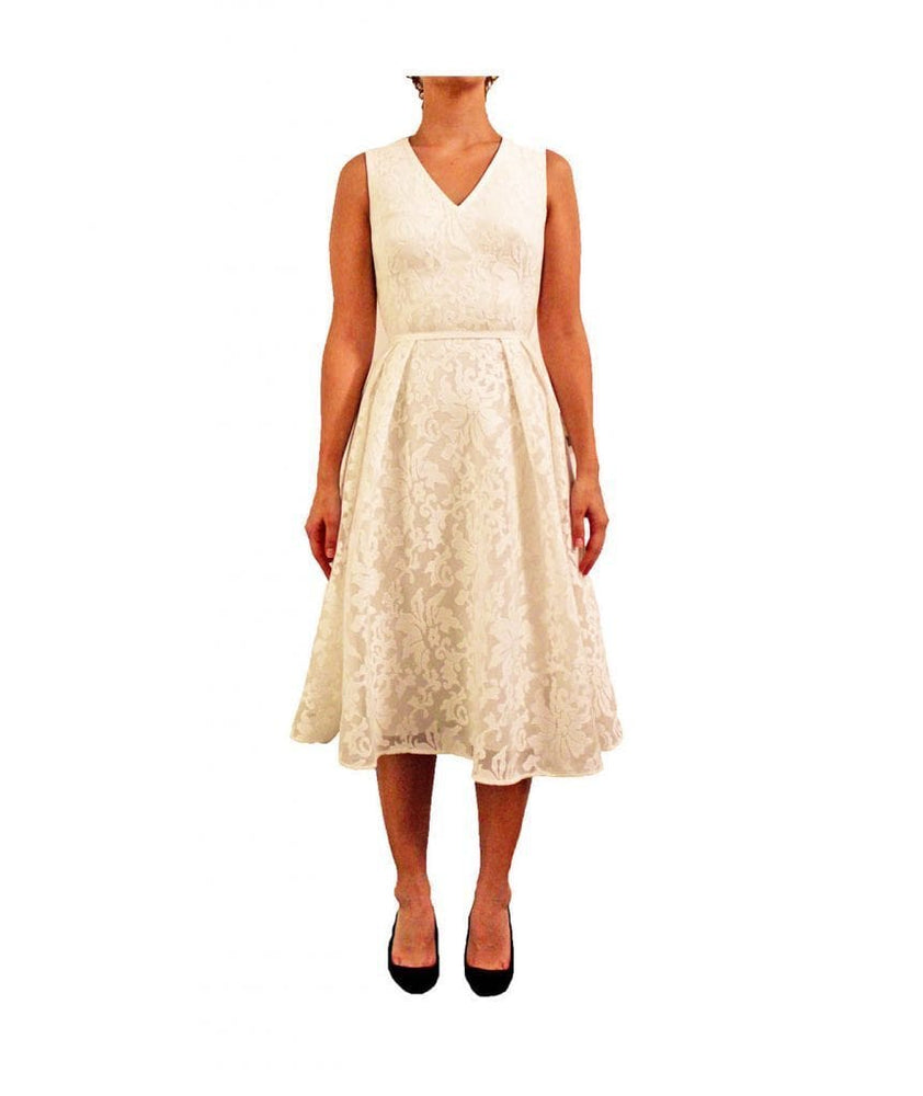 White Lace Tea Length Dress