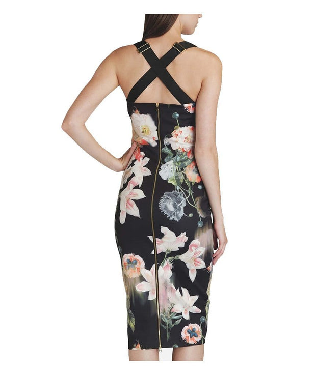 Opulent Bloom Printed Midi Dress - REHEART 💜 Canadian Online Wardrobe-Sharing Platform