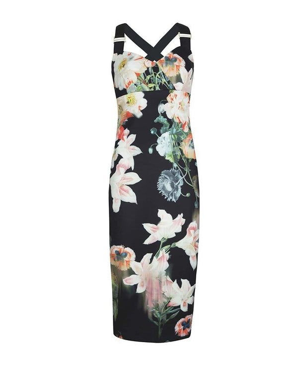 Opulent Bloom Printed Midi Dress, Dress, _tberlin_,- REHEART Canadian Online Wardrobe-Sharing Platform