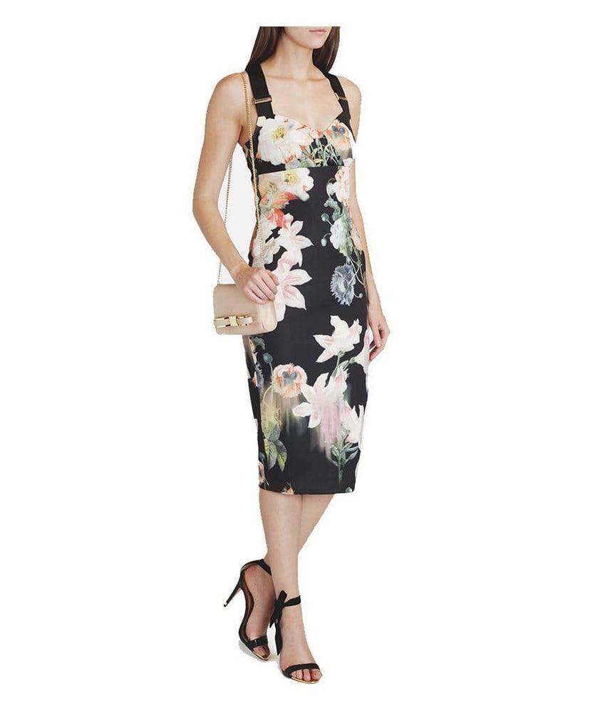 Opulent Bloom Printed Midi Dress