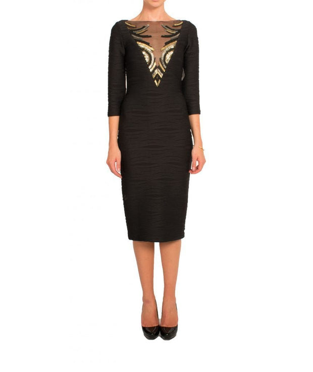 Black & Gold Mesh Bodycon, Dress, biancagalati,- REHEART Canadian Online Wardrobe-Sharing Platform