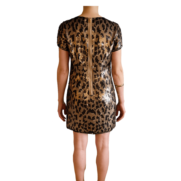 Cheetah Sequin Shirt Dress, Dress, Missy-Kay-Kay,- REHEART Canadian Online Wardrobe-Sharing Platform