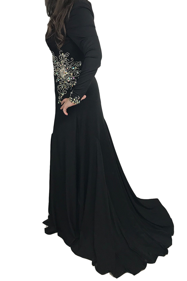 Black Gown with Crystals, Dress, mirianbahareh,- REHEART Canadian Online Wardrobe-Sharing Platform