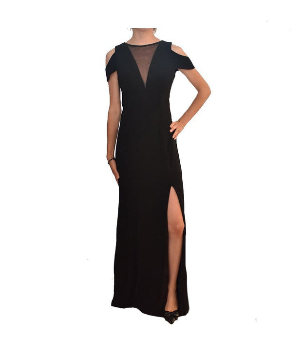 Nightway Illusion Cold Shoulder Black Gown, Dress, justabitochris,- REHEART Canadian Online Wardrobe-Sharing Platform