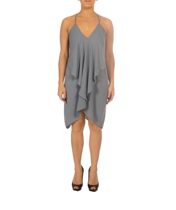 Grey V-Neck Handkerchief Dress - REHEART 💜 Canadian Online Wardrobe-Sharing Platform