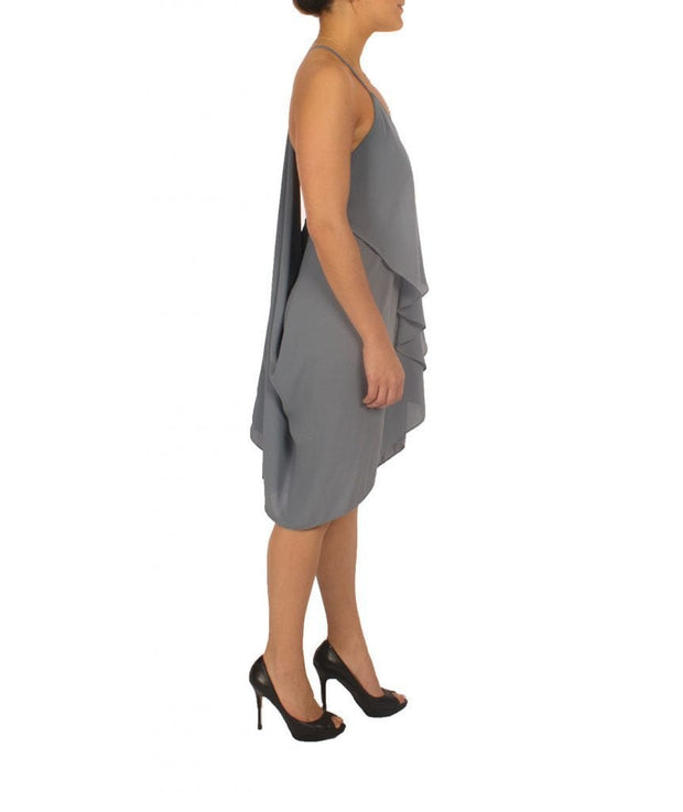Grey V-Neck Handkerchief Dress, Dress, definasa,- REHEART Canadian Online Wardrobe-Sharing Platform
