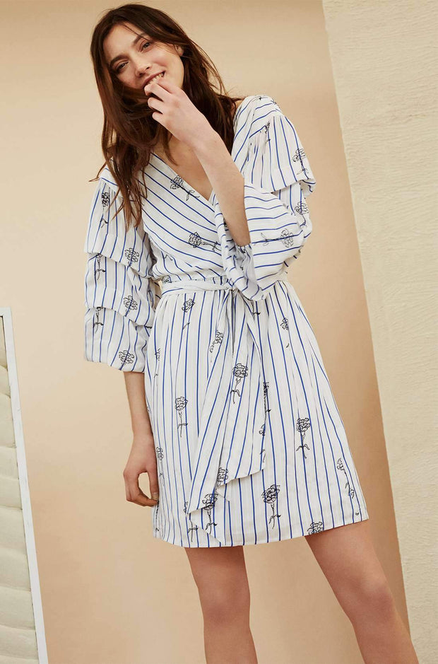 Delicate Floral Striped Wrap Dress - REHEART 💜 Canadian Online Wardrobe-Sharing Platform