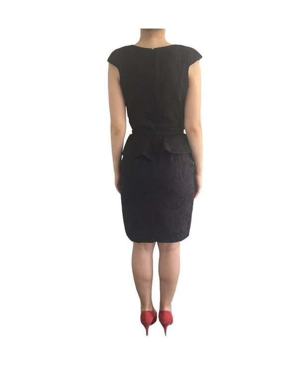 Mesh V Cut Out Black Peplum Dress, Dress, ekalami,- REHEART Canadian Online Wardrobe-Sharing Platform