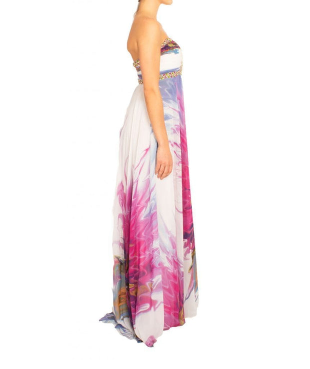 Strapless Flower Embellished Gown, Dress, milenadifeo,- REHEART Canadian Online Wardrobe-Sharing Platform