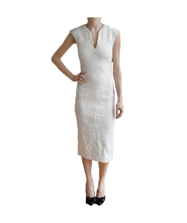 White Floral Embossed Bodycon, Dress, vicbaldesarra,- REHEART Canadian Online Wardrobe-Sharing Platform