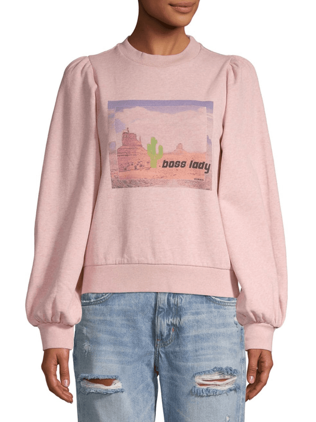 Boss Lady Graphic Cotton Sweatshirt - REHEART 💜 Canadian Online Wardrobe-Sharing Platform