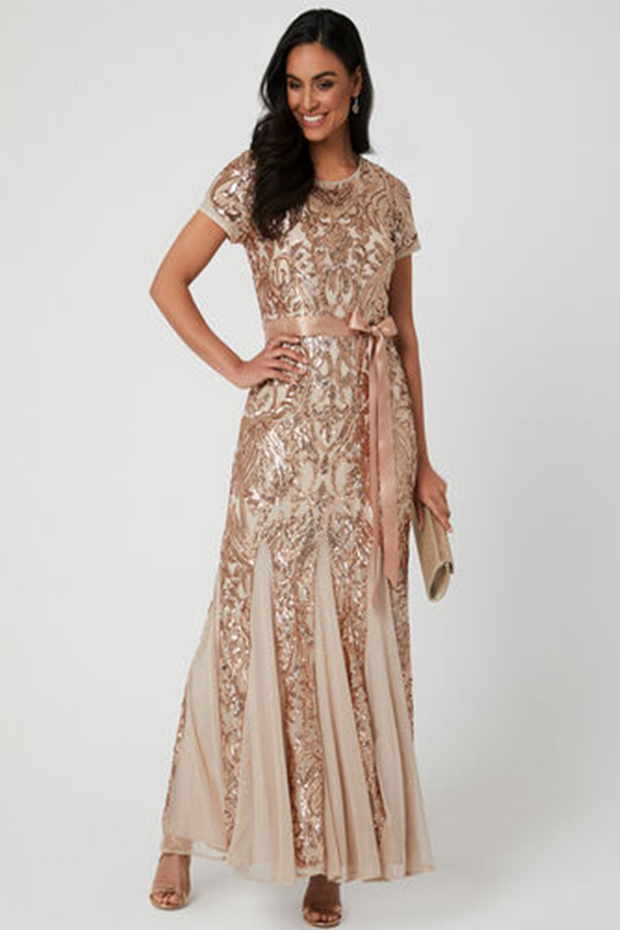 Andrea Blush and Gold Sequin Dress