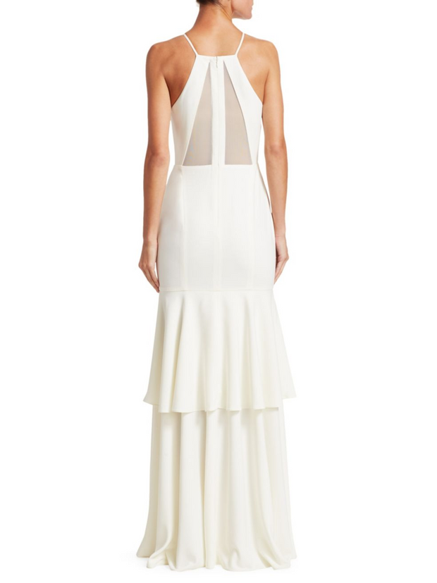 Sleeveless Mesh Back Tiered Skirt Gown