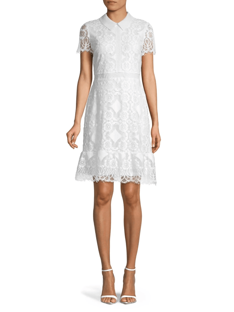 Short Sleeve Collar Lace Dress