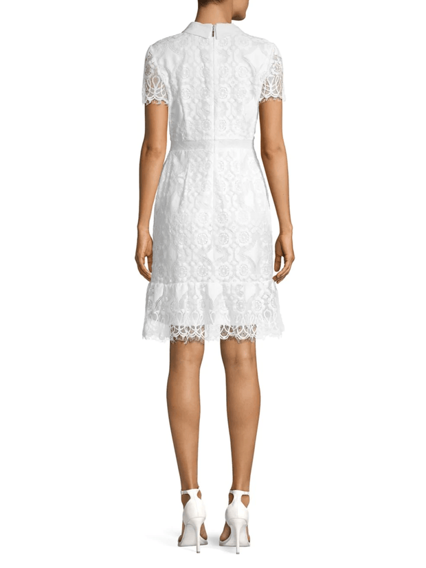 Short Sleeve Collar Lace Dress - REHEART 💜 Canadian Online Wardrobe-Sharing Platform