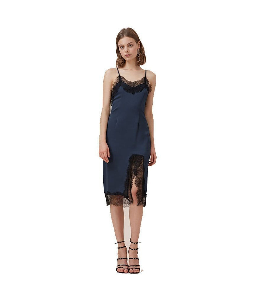 Stop Me Lace Trim Slip Dress