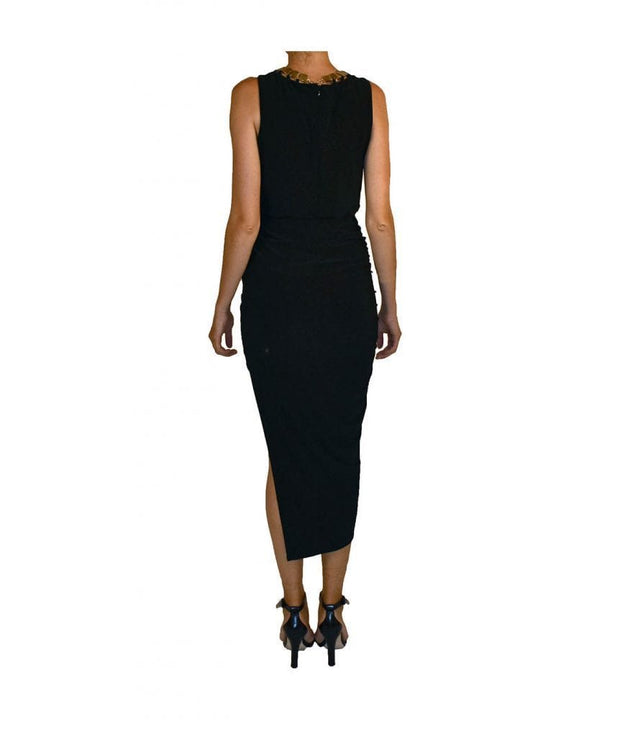 Wrap High-Low Dress with Gold Statement Necklace, Dress, jacklynnwest,- REHEART Canadian Online Wardrobe-Sharing Platform