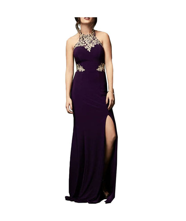 Purple & Gold Embroidery Gown - REHEART 💜 Canadian Online Wardrobe-Sharing Platform