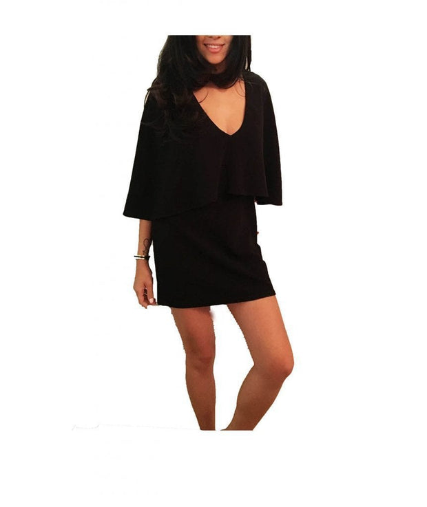 Black V-Neck Cape Dress, Dress, shopaholmik,- REHEART Canadian Online Wardrobe-Sharing Platform