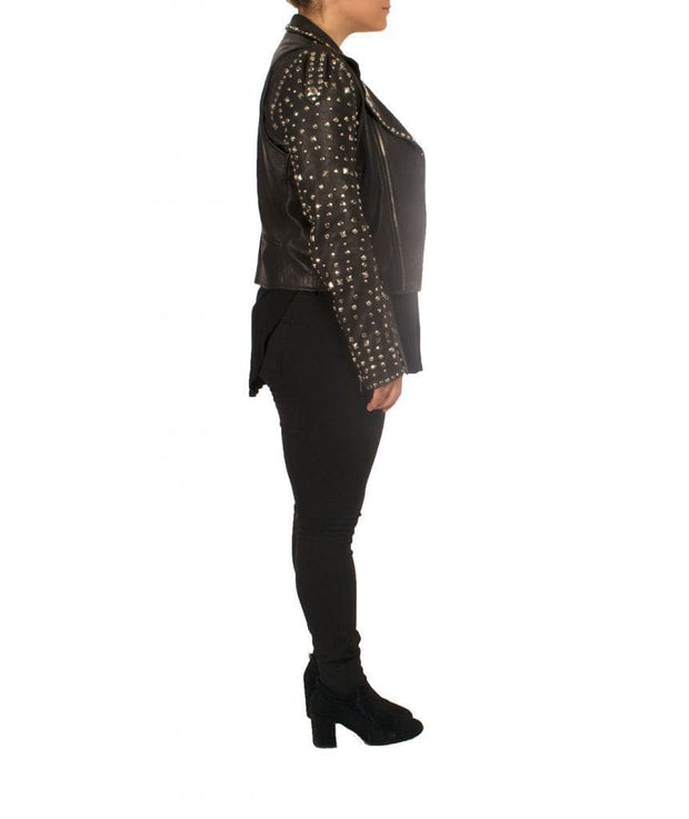 Studded Leather Biker Jacket - REHEART 💜 Canadian Online Wardrobe-Sharing Platform