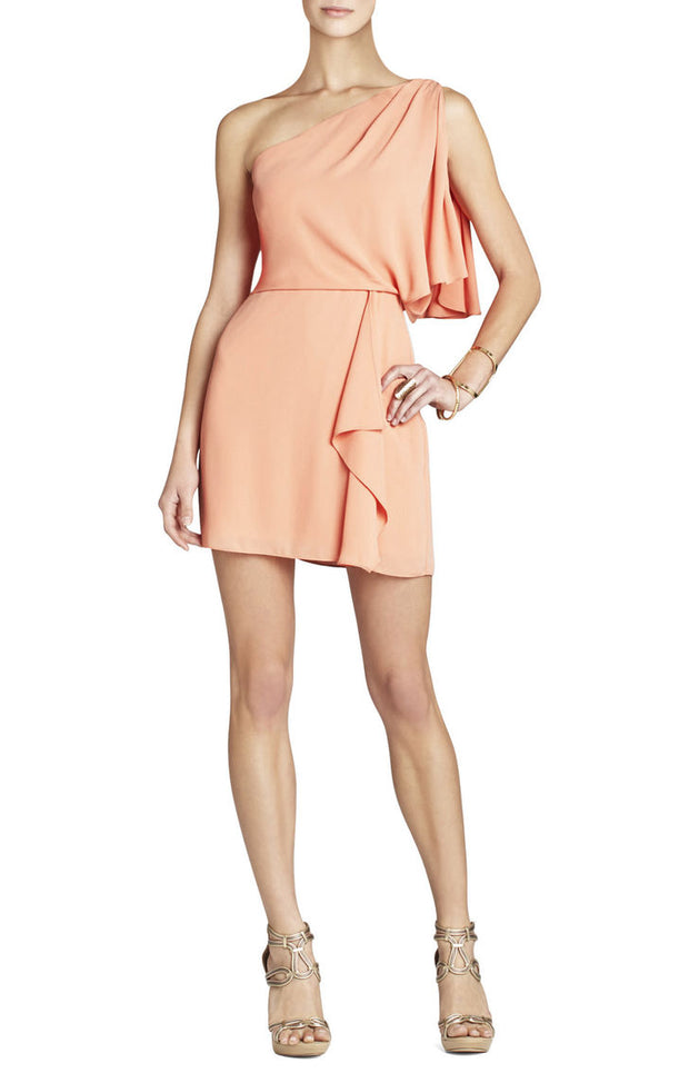 Mina One-Shoulder Peach Dress, Dress, couimetliu,- REHEART Canadian Online Wardrobe-Sharing Platform