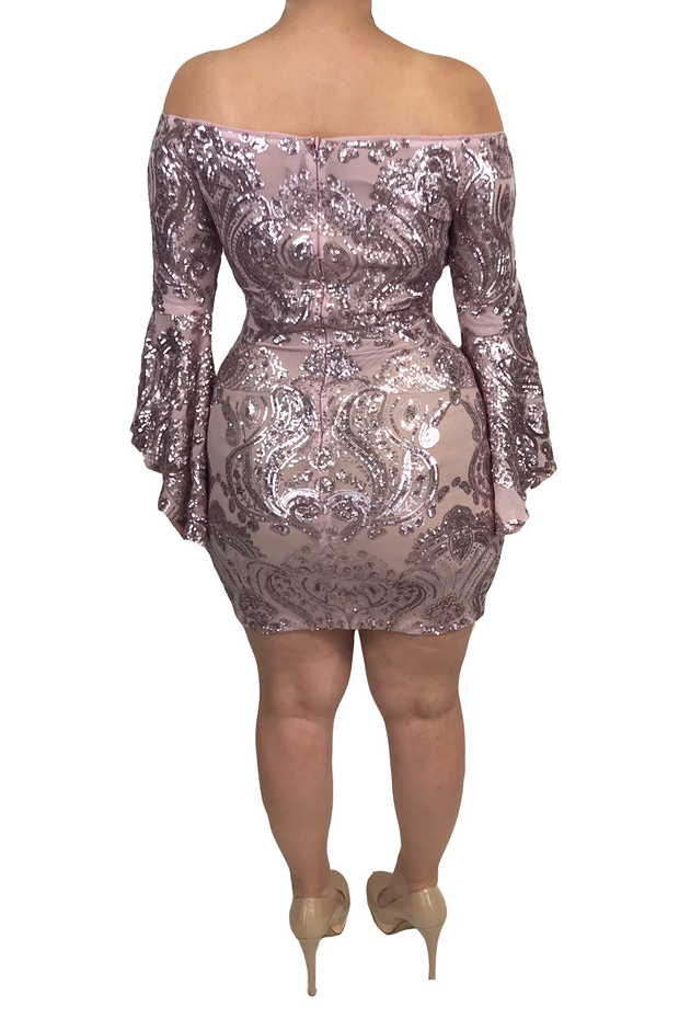 Sparkly Bell Sleeve Mini, Dress, christinas_roses,- REHEART Canadian Online Wardrobe-Sharing Platform