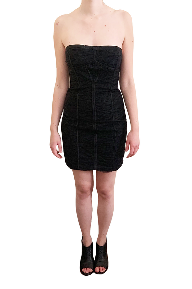 Black Ruched Mini Dress, Dress, char_cowan,- REHEART Canadian Online Wardrobe-Sharing Platform