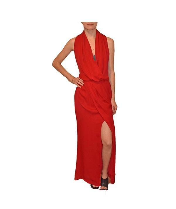 Sleeveless Red Slit Gown