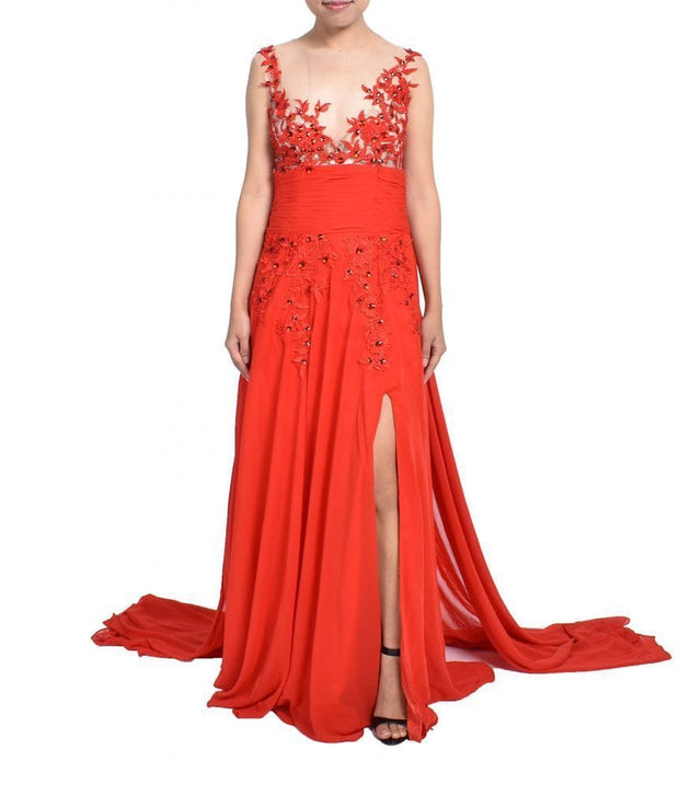 Handmade Red Lace Gown - REHEART 💜 Canadian Online Wardrobe-Sharing Platform