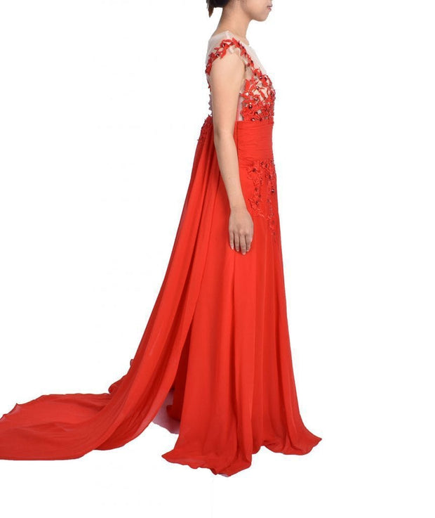Handmade Red Lace Gown, Dress, katyatchoubar,- REHEART Canadian Online Wardrobe-Sharing Platform