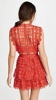 Floral Lattice Lace Fit-&-Flare Dress, Dress, vbelegrinis,- REHEART Canadian Online Wardrobe-Sharing Platform